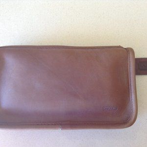 Coach British Tan Leather Zip Clutch